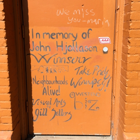 Winnipeg murals doorway; in memoriam