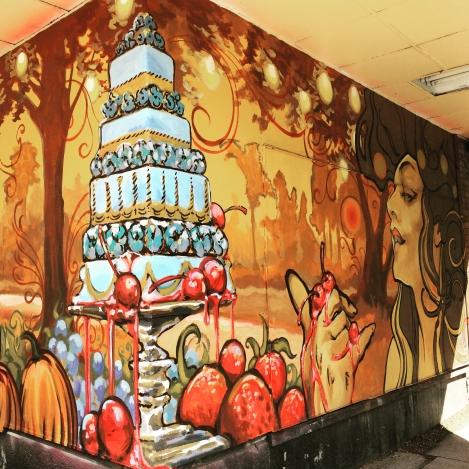 Winnipeg mural featuring cake